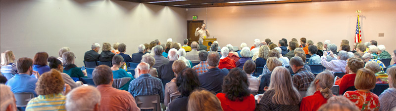 audience listening to a guest speaker in a meeting room at Bolivar County Library System