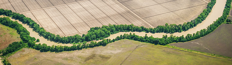 aerial of Mississippi delta