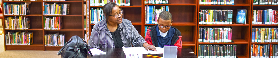 adult woman assisting child with his studies at Bolivar County Library System